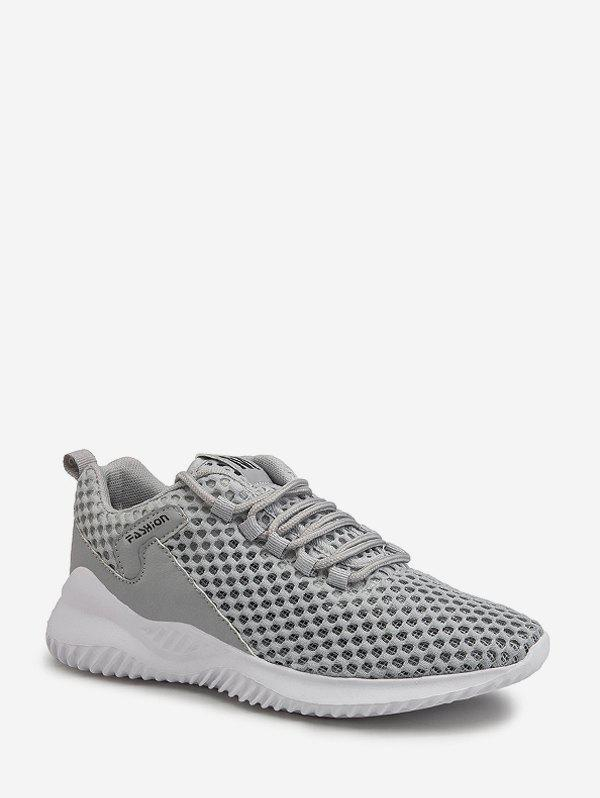 Plain Breathable Mesh Sport Sneakers - GRAY EU 43