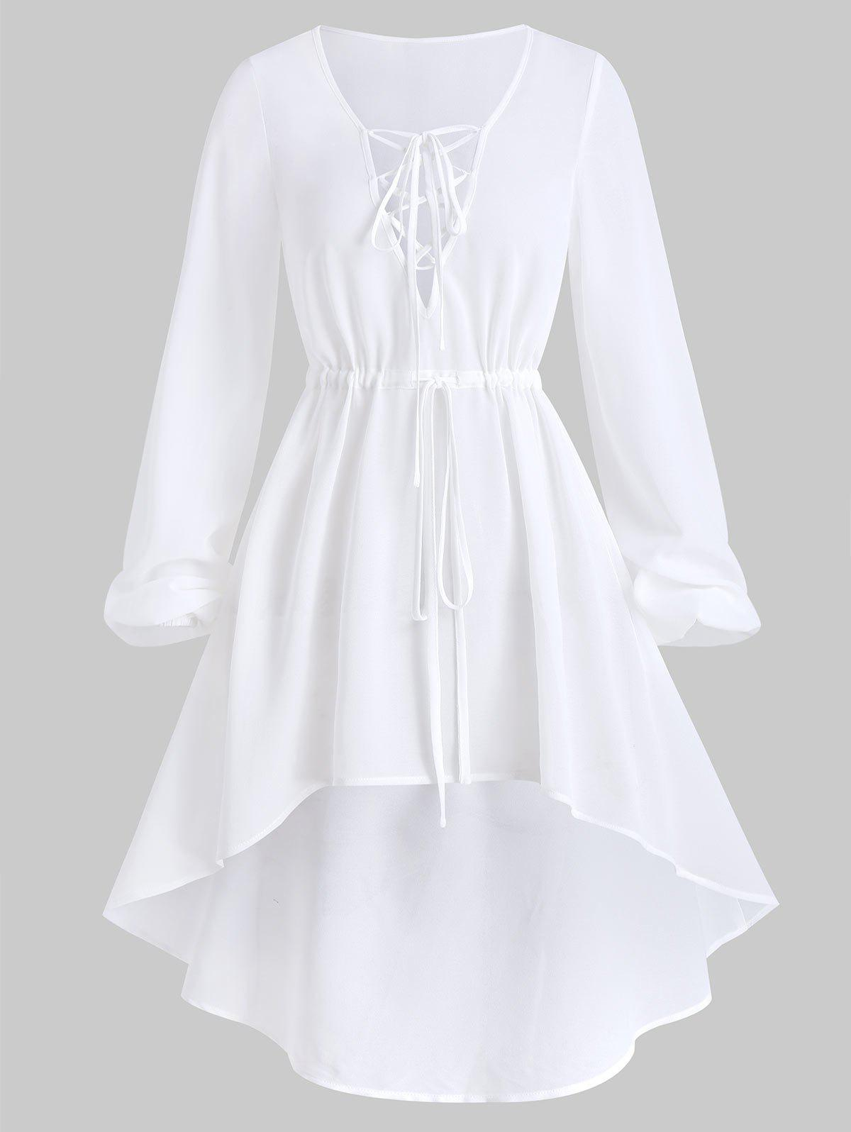 Bishop Sleeve Lace-up High Low Cover-up - WHITE 3XL