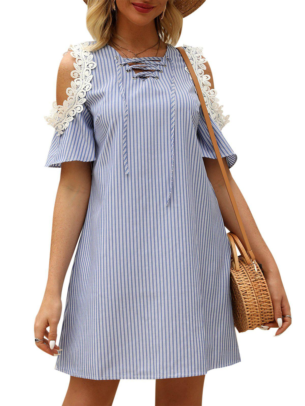 Striped Print Lace-up Cold Shoulder Dress - BLUE GRAY M