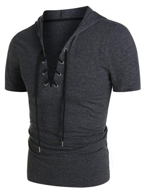 Short Sleeve Lace-up Heathered Hoodie