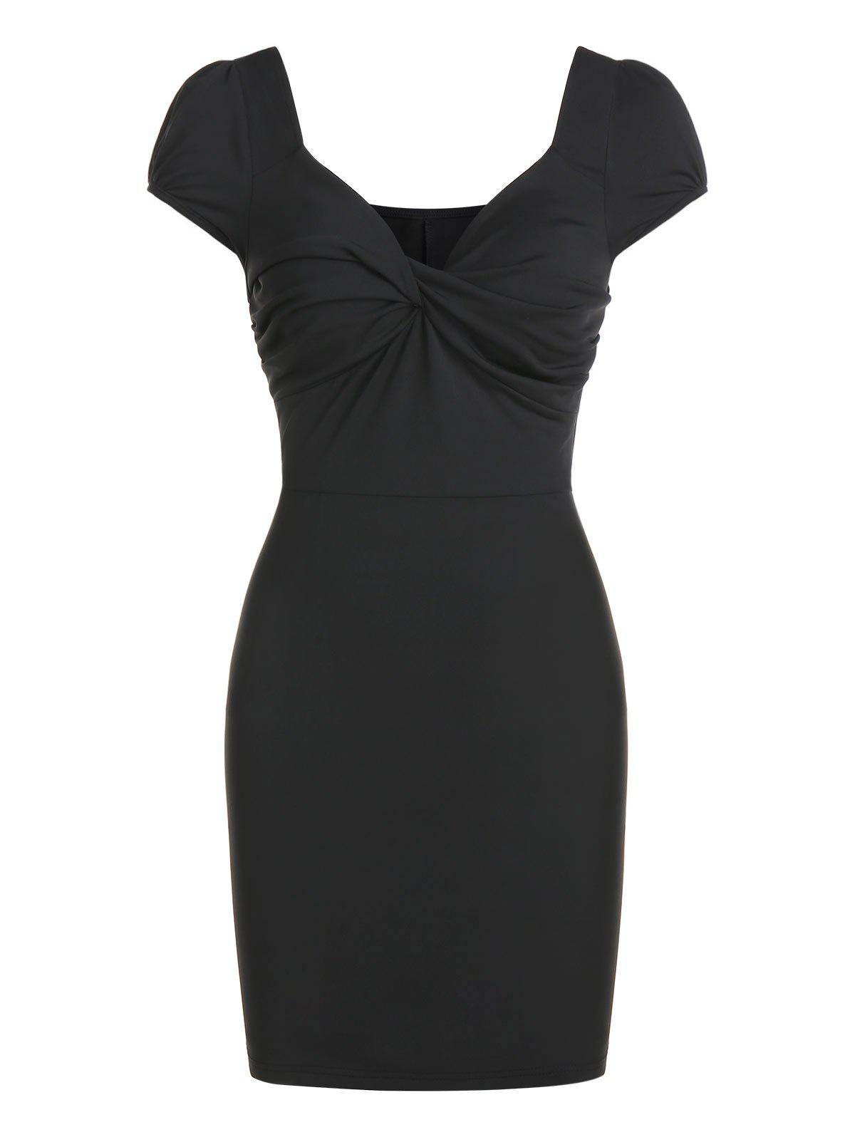 Twist Front Mini Bodycon Dress - BLACK 3XL