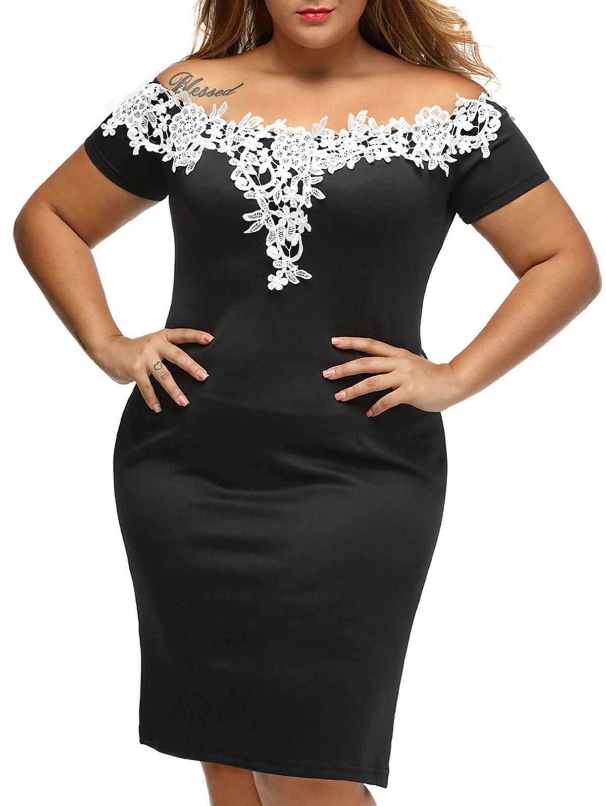 Floral Lace Insert Plus Size Off Shoulder Bodycon Dress - BLACK 1X