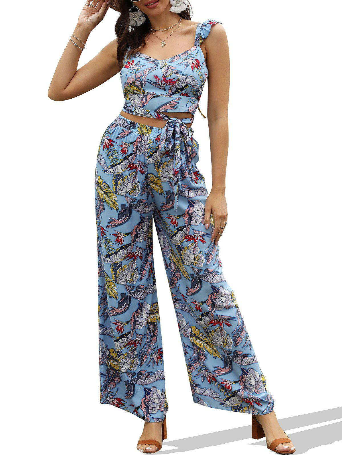 Tropical Print Wrap Crop Top and Wide Leg Pants - BLUE GRAY XL