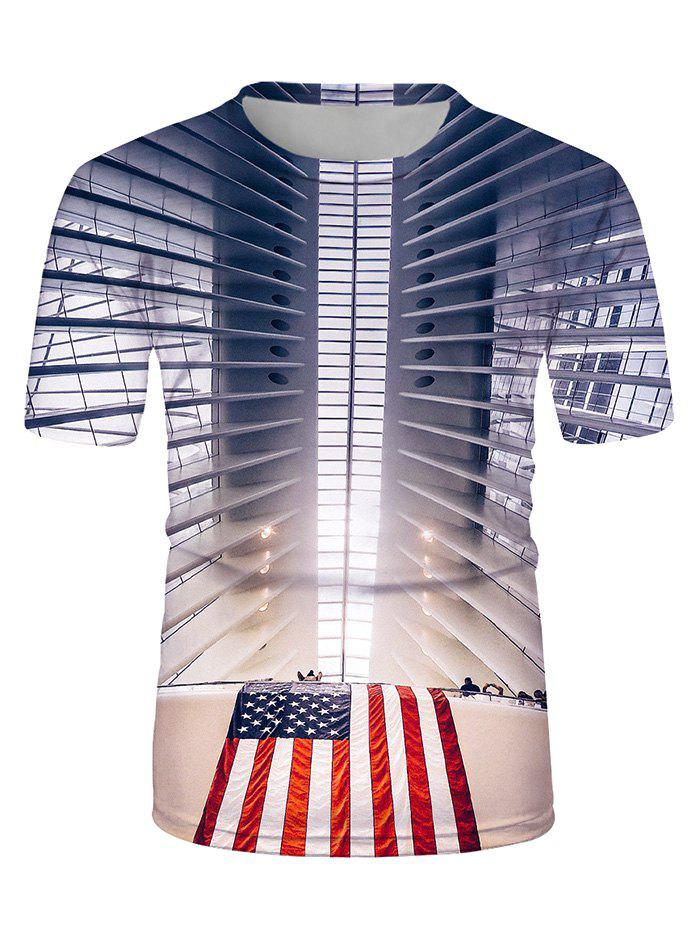 American Flag 3D Print Crew Neck Casual T Shirt - multicolor L