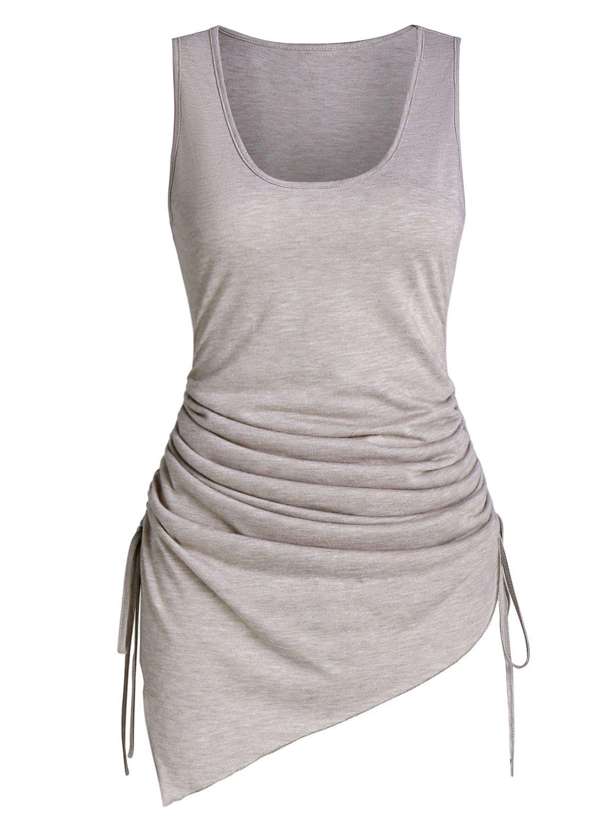Asymmetric Ruched Cinched Tank Top - TAN M