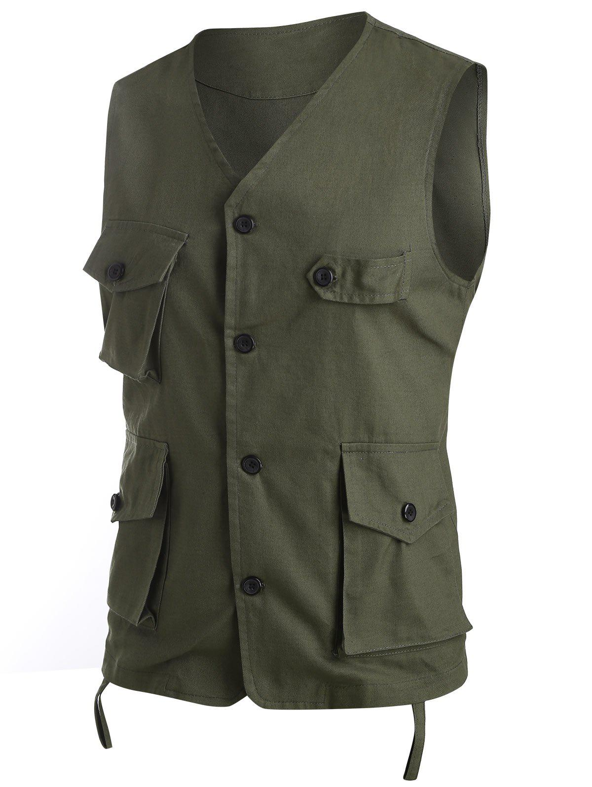 Pure Color Button Up Fisher Vest - ARMY GREEN 2XL