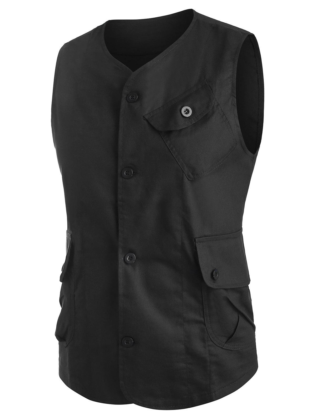 Plain Button Up Flap Pockets Fisher Vest - BLACK 2XL