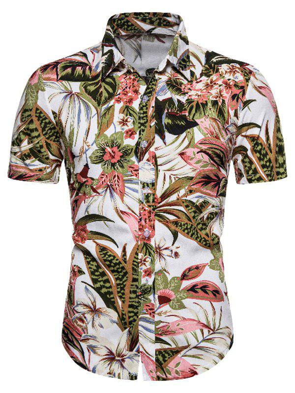Floral Leaves Print Hawaii Short Sleeve Shirt - multicolor 2XL