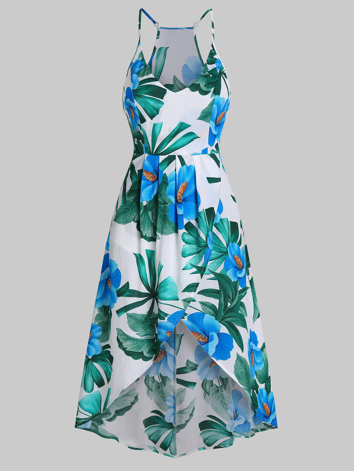 Tropical Print Spaghetti Strap High Low Dress - multicolor A 3XL