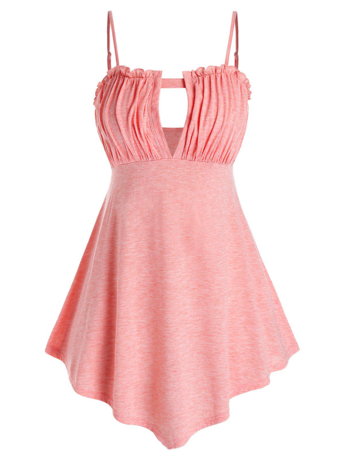 Plus Size Cutout Ruched Tank Top - FLAMINGO PINK 4X
