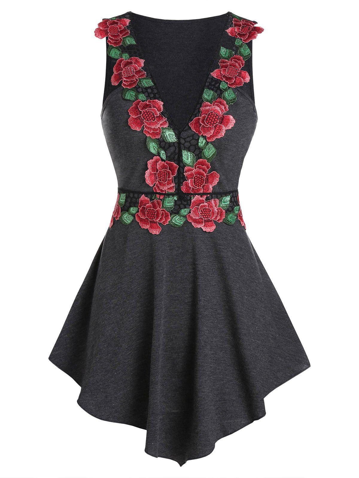 Flower Embroidered Pointed Hem Tank Top - CARBON GRAY M
