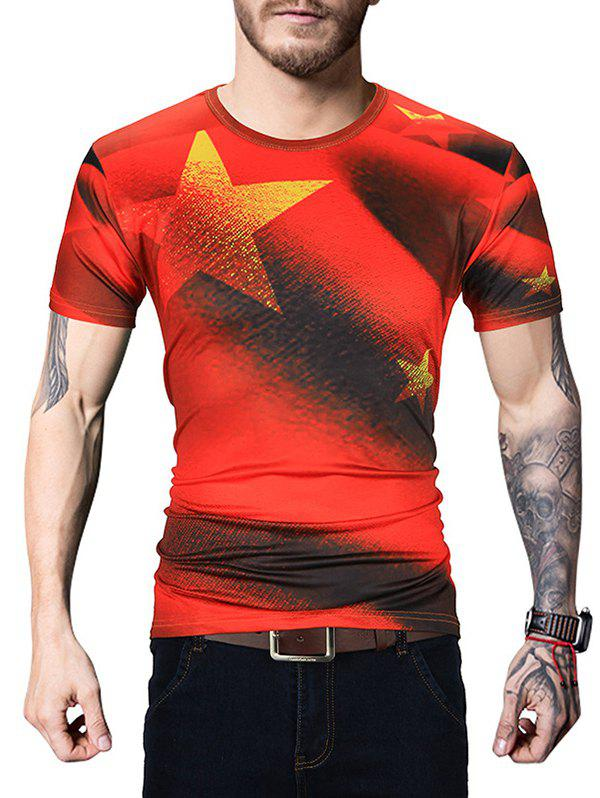 Star Printed Crew Neck T Shirt - RED L