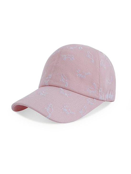 Cats Pattern Adjustable Embroidery Baseball Cap - PINK