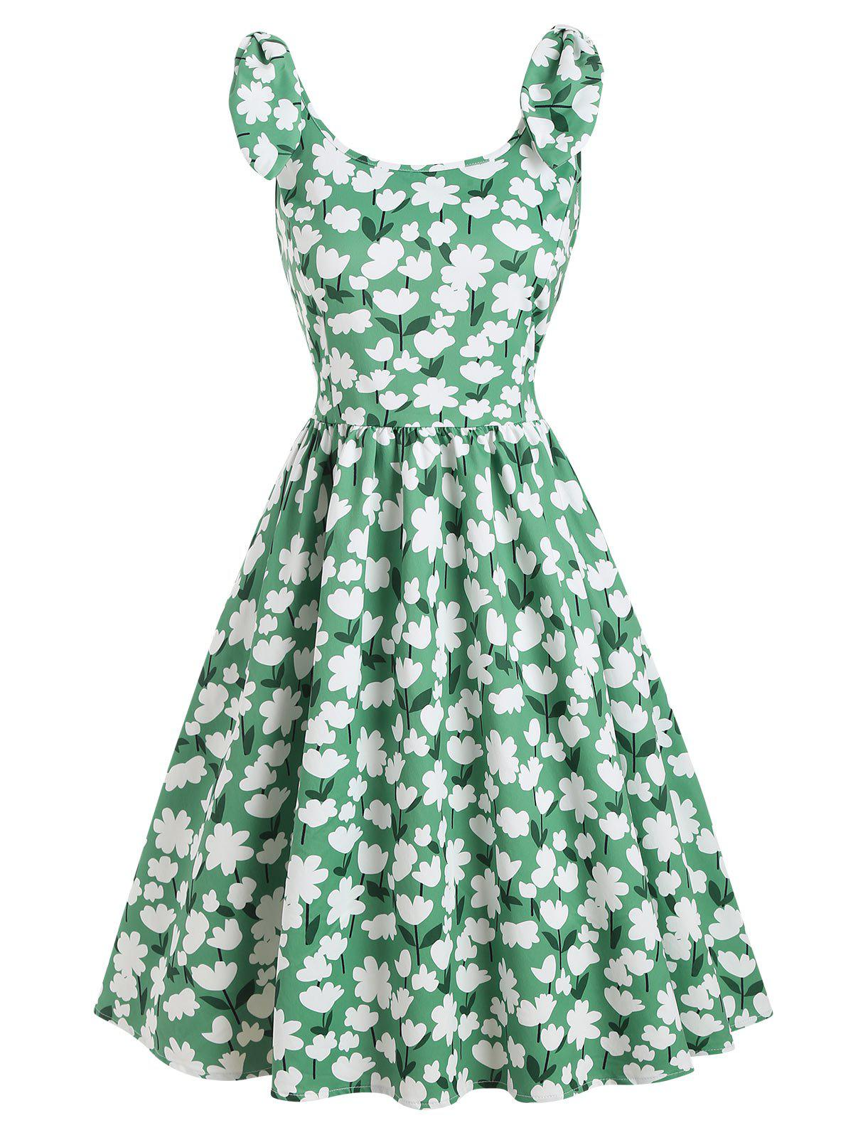 Bowknot Floral Print A Line 1950s Vintage Dress - MACAW BLUE GREEN S