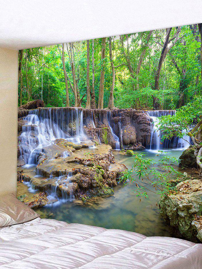 Forest Waterfall Stream Print Tapestry Wall Hanging Art Decor - multicolor W91 X L71 INCH