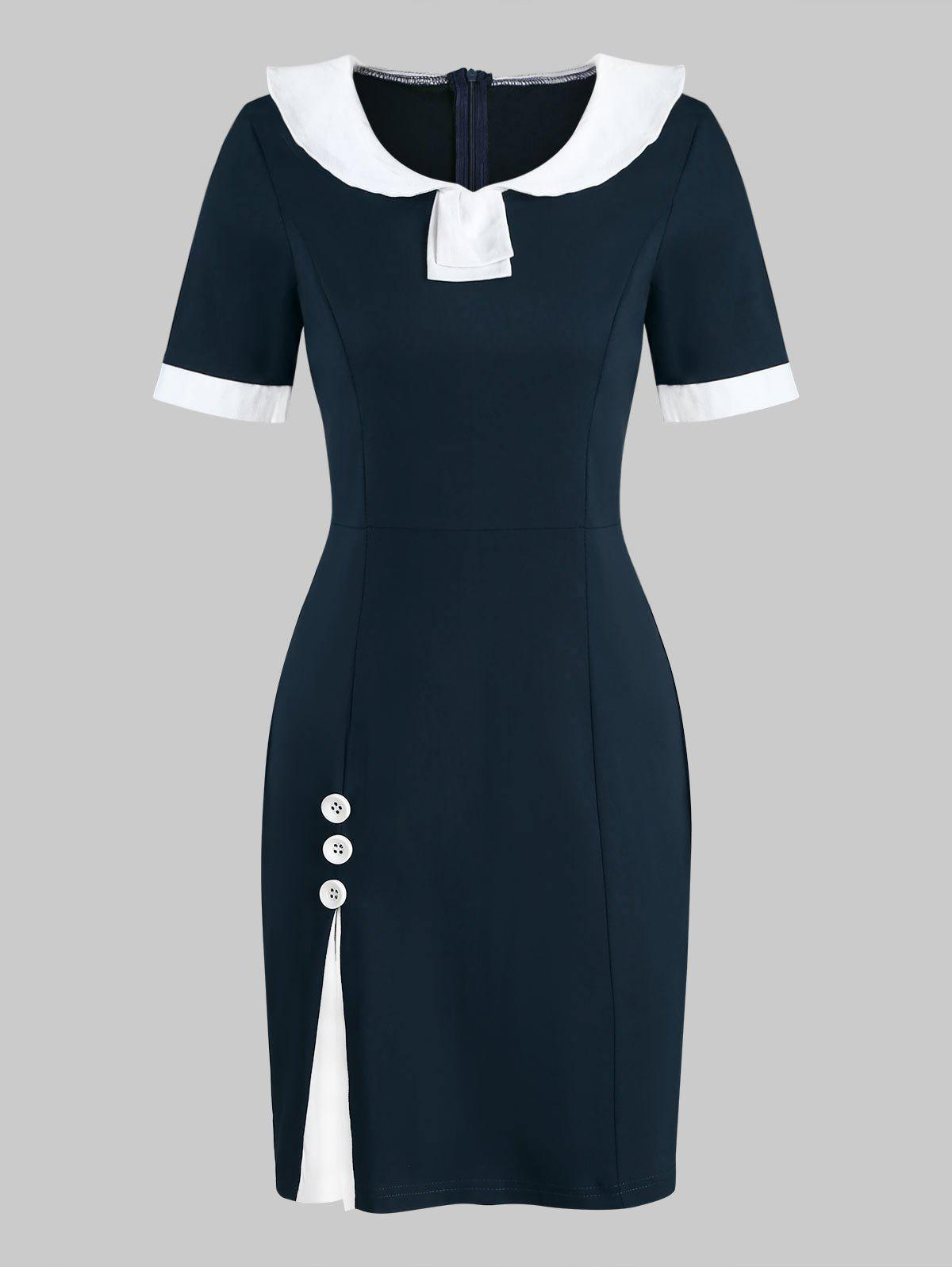 Two Tone Vintage Fitted Sailor Short Dress - MIDNIGHT BLUE L
