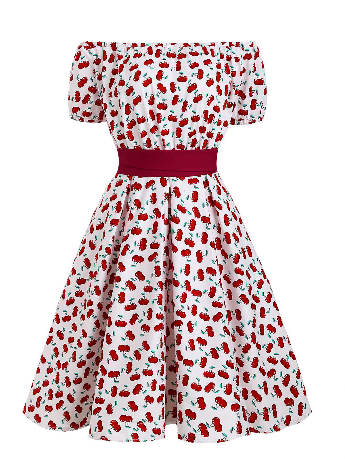 Off Shoulder Cherry Print Belted Retro Dress - LAVA RED M