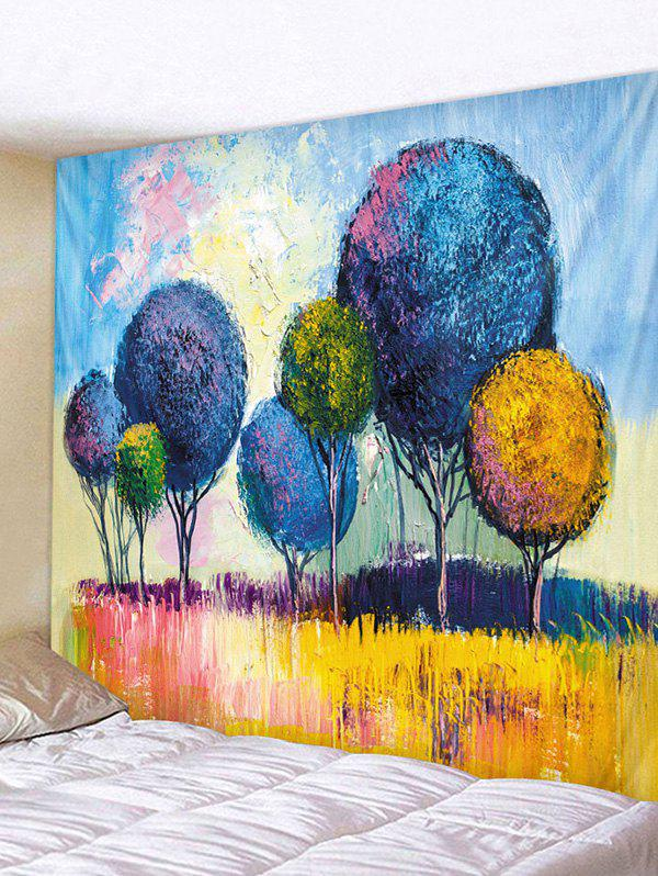 Colorful Trees Print Tapestry Wall Hanging Art Decoration - CORNFLOWER BLUE W91 X L71 INCH