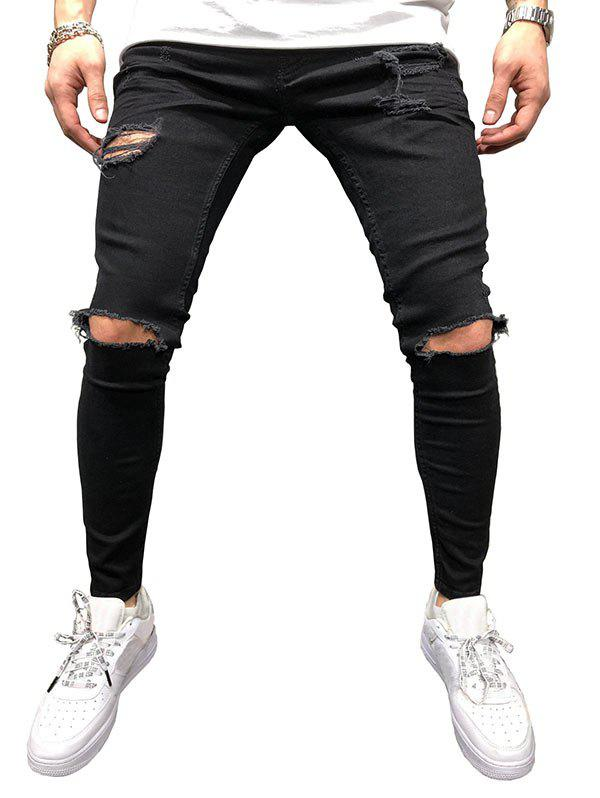Solid Color Hole Design Jeans - BLACK 40