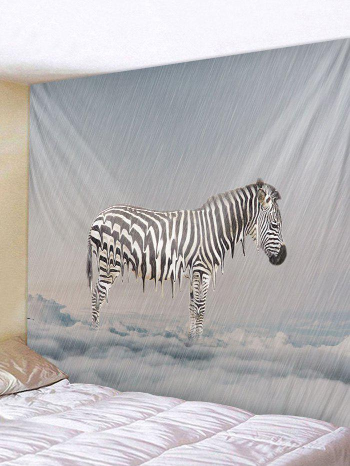Zebra Printed Hanging Wall Tapestry - PLATINUM W91 X L71 INCH