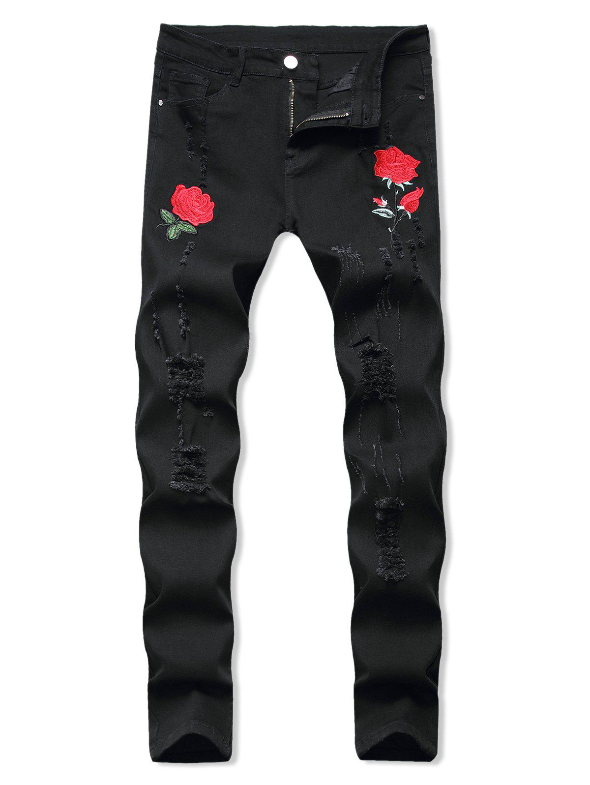 Floral Embroidery Ripped Design Jeans - BLACK 36