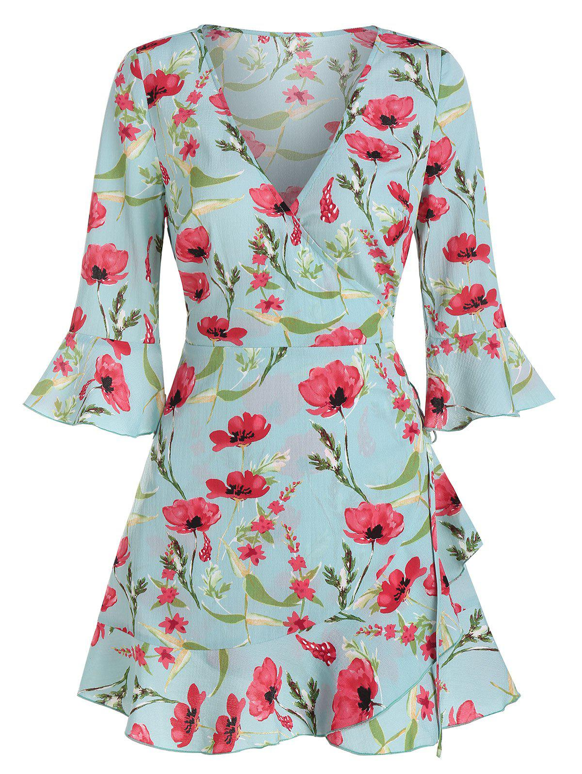 Floral Print Poet Sleeve Wrap Dress - CYAN OPAQUE S
