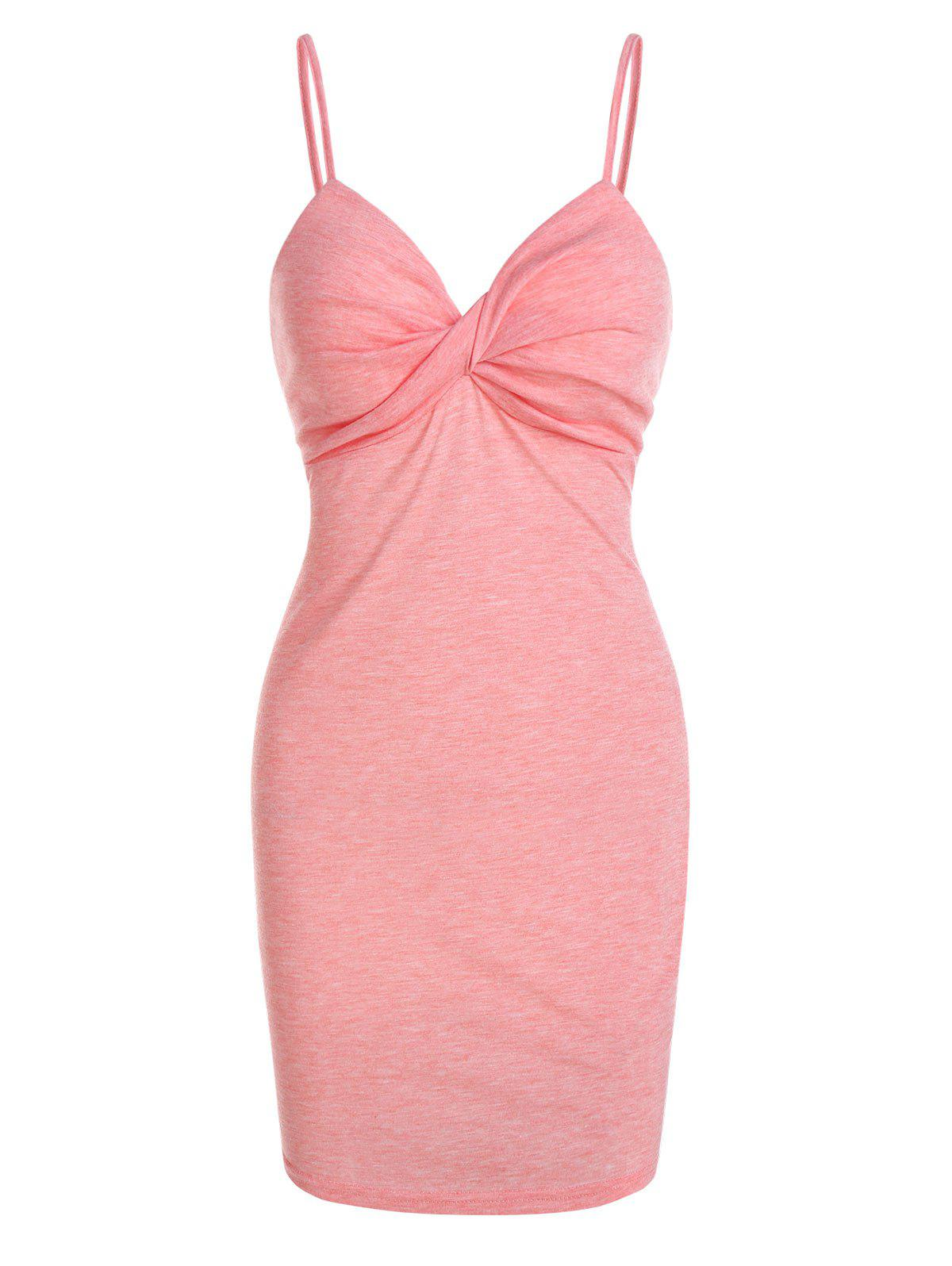 Twist Front Heathered Sheath Dress - PINK M