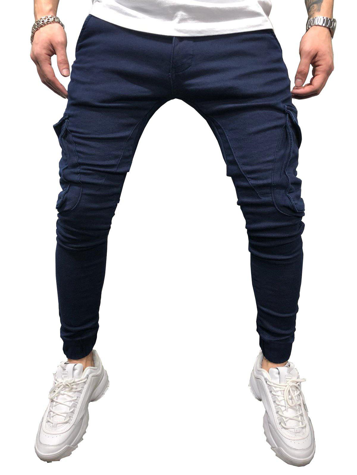 Solid Color Pocket Design Casual Jeans - DENIM DARK BLUE 34
