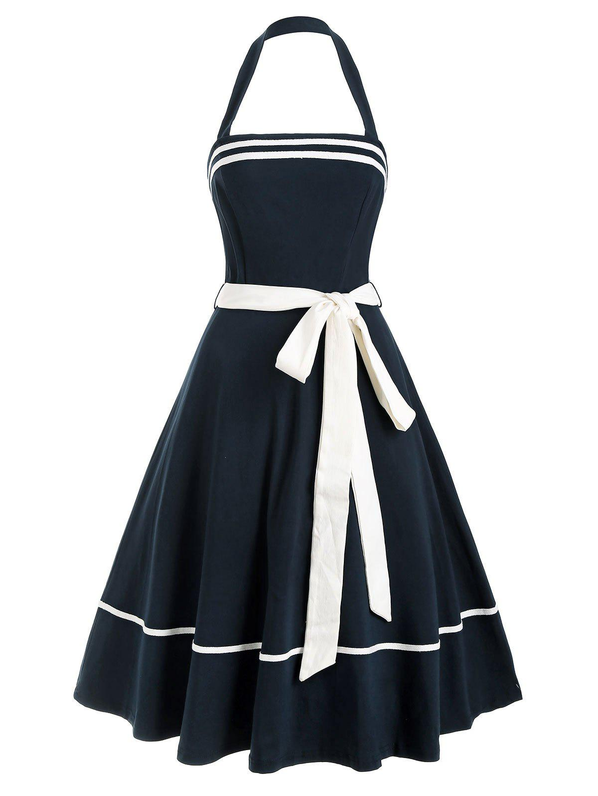 Halter Belted Une ligne Backless Retro Sailor Dress - Bleu de Minuit 2XL
