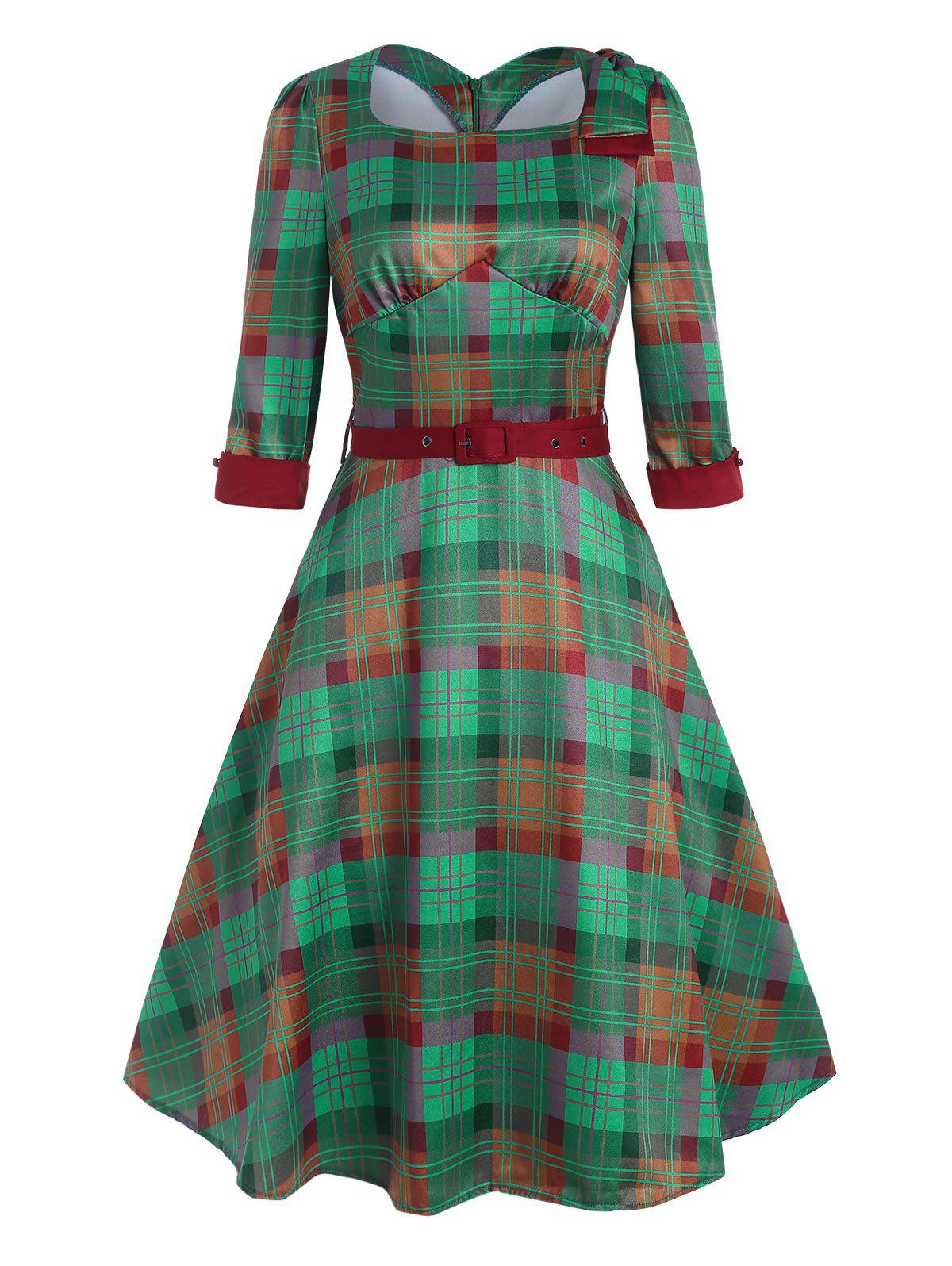 Plaid Bowknot Square Neck Belted Dress - DEEP GREEN L