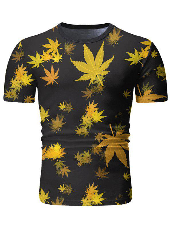 Leaves Print Short Sleeve Casual T-shirt - BEE YELLOW 2XL