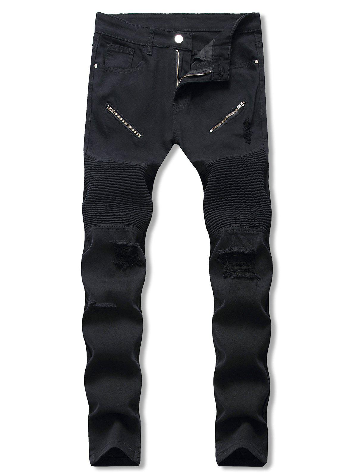 Solid Color Ripped Casual Jeans - BLACK 40