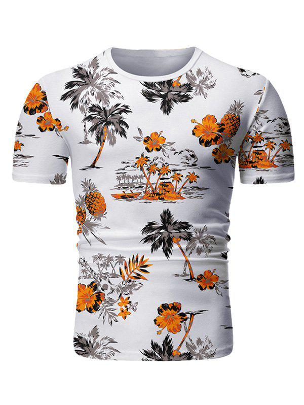 Palm Tree Floral Print Casual T-shirt - WHITE 3XL