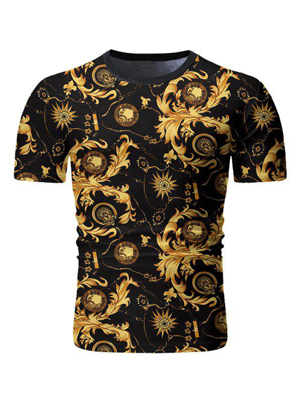 Baroque Print Round Neck T-shirt - BLACK 2XL