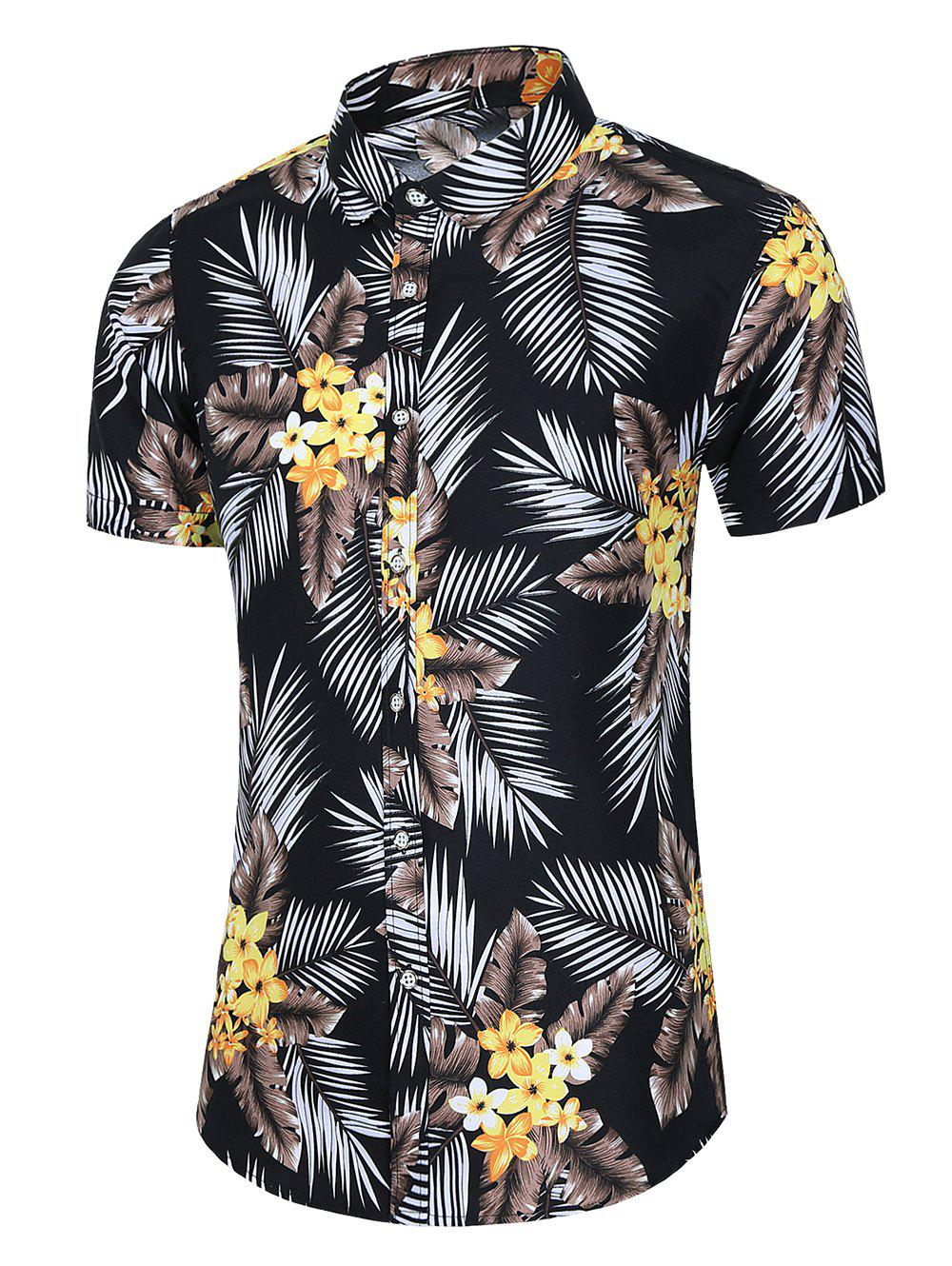 Tropical Leaf Floral Print Beach Shirt - BLACK M