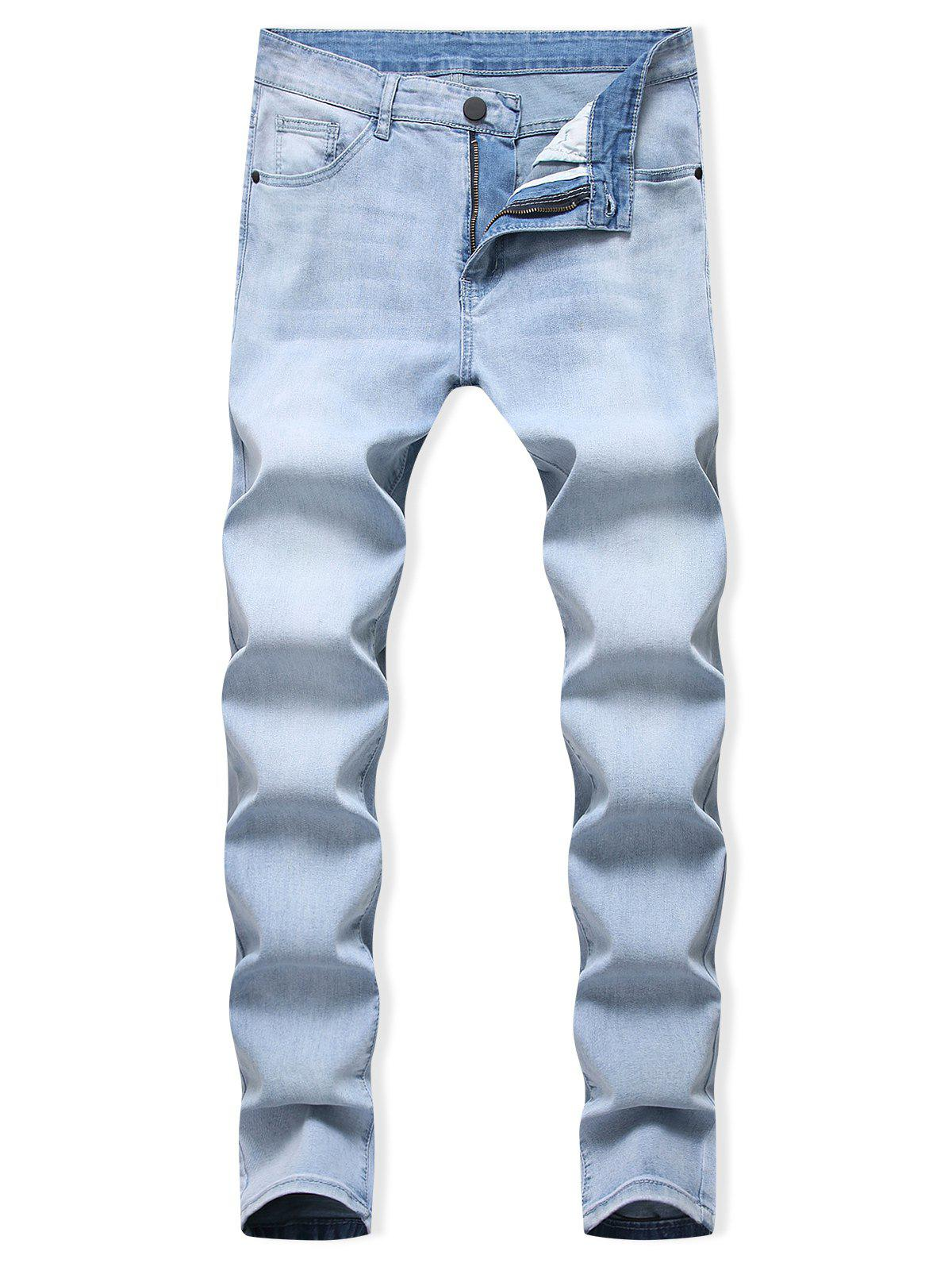 Light Wash Zipper Fly Casual Jeans - JEANS BLUE 42