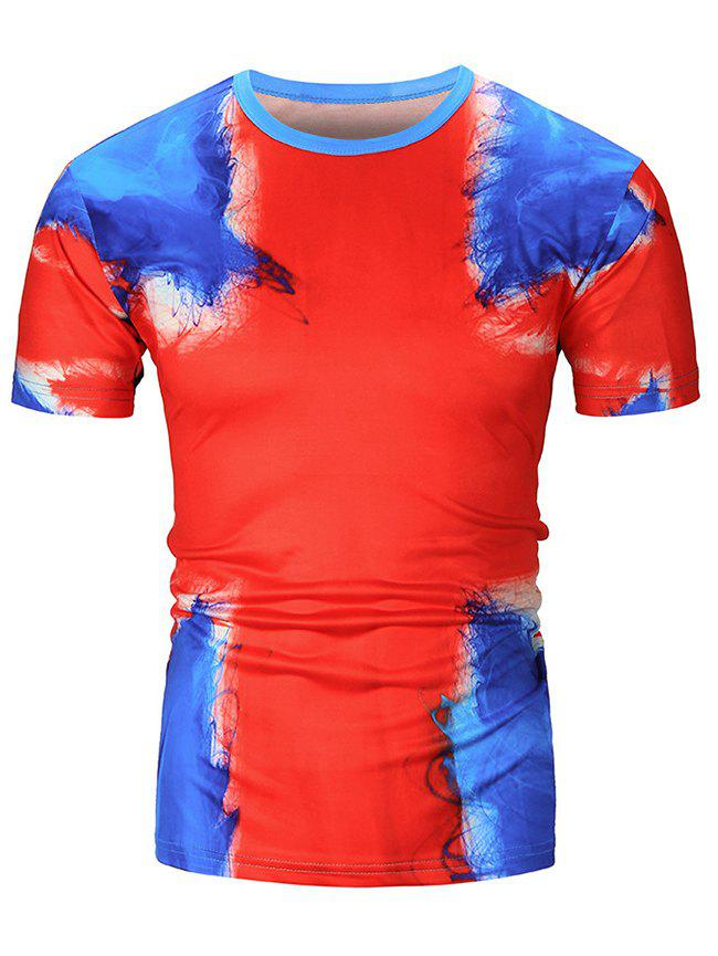 Painting Printed Casual Short Sleeves T-shirt - RED XS