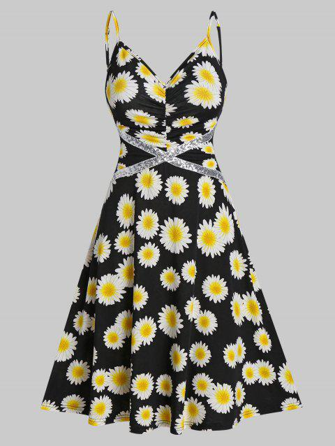 Daisy Print Sequin Insert Ruched Dress
