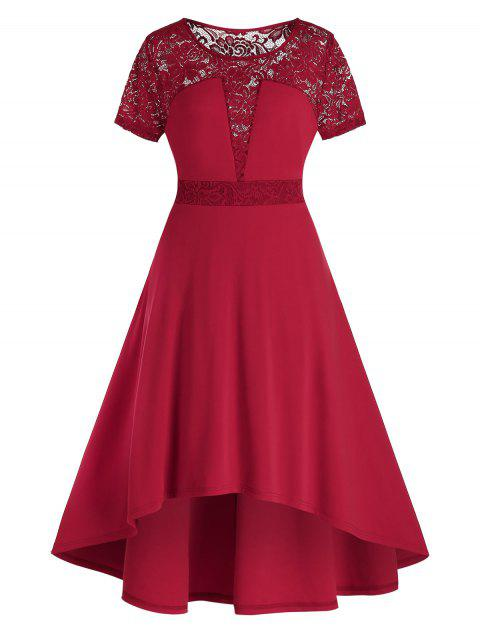 Plus Size Lace Panel Dip Hem Midi High Rise Dress