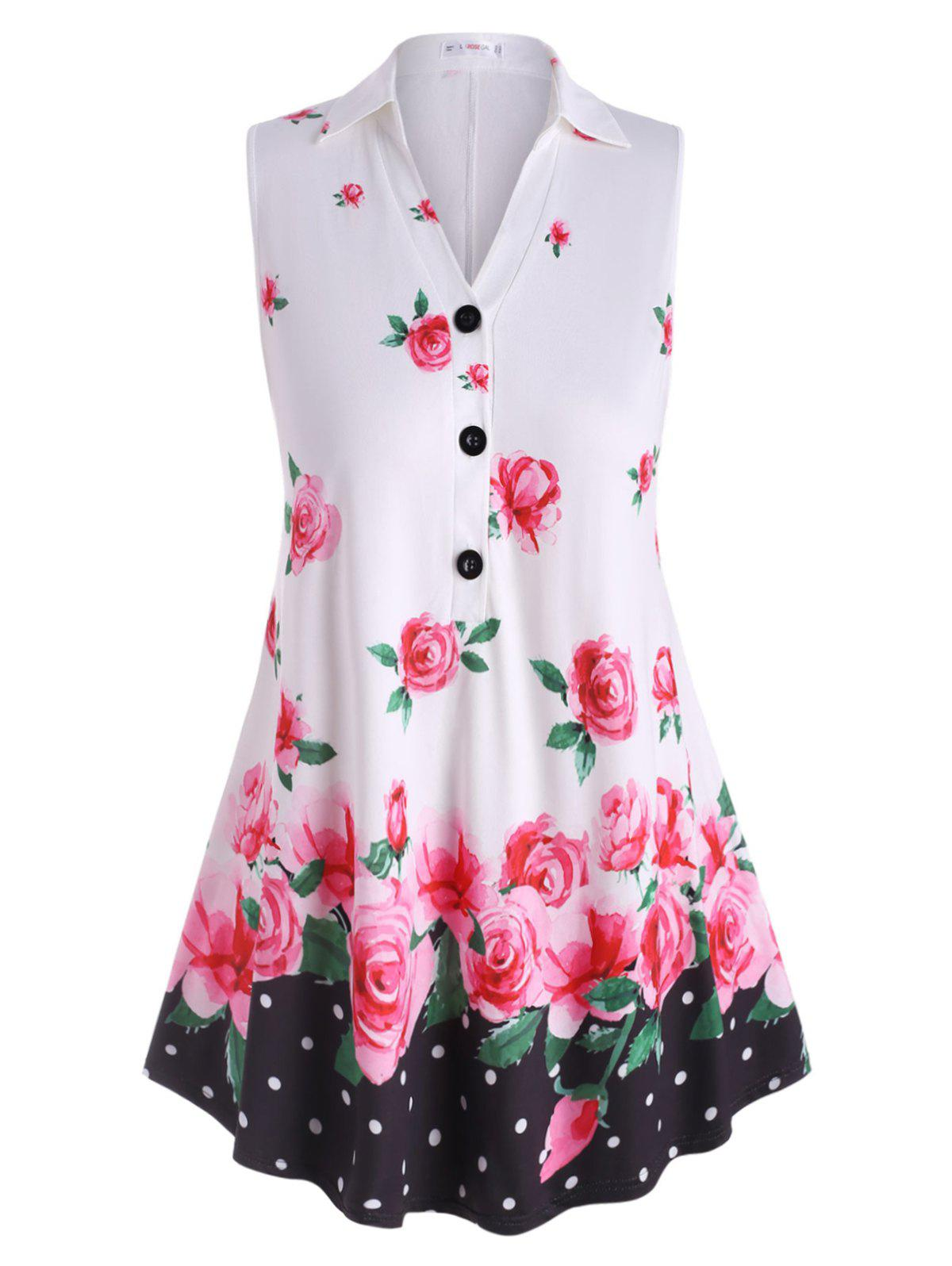 Half Buttoned Floral Sleeveless Plus Size Top - WHITE 2X