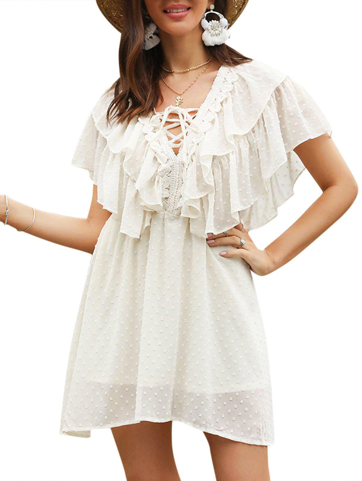 Layered Ruffle Lace Up Dobby Mini dress - BEIGE L