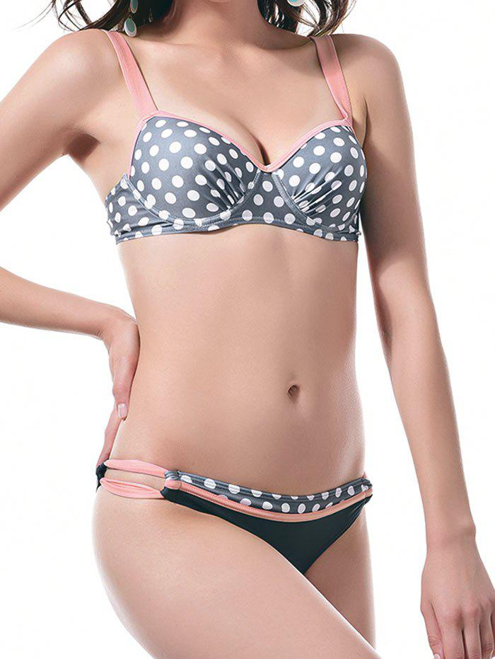 Polka Dot Ruched Underwire Push Up Bikini Swimwear - FLAMINGO PINK S