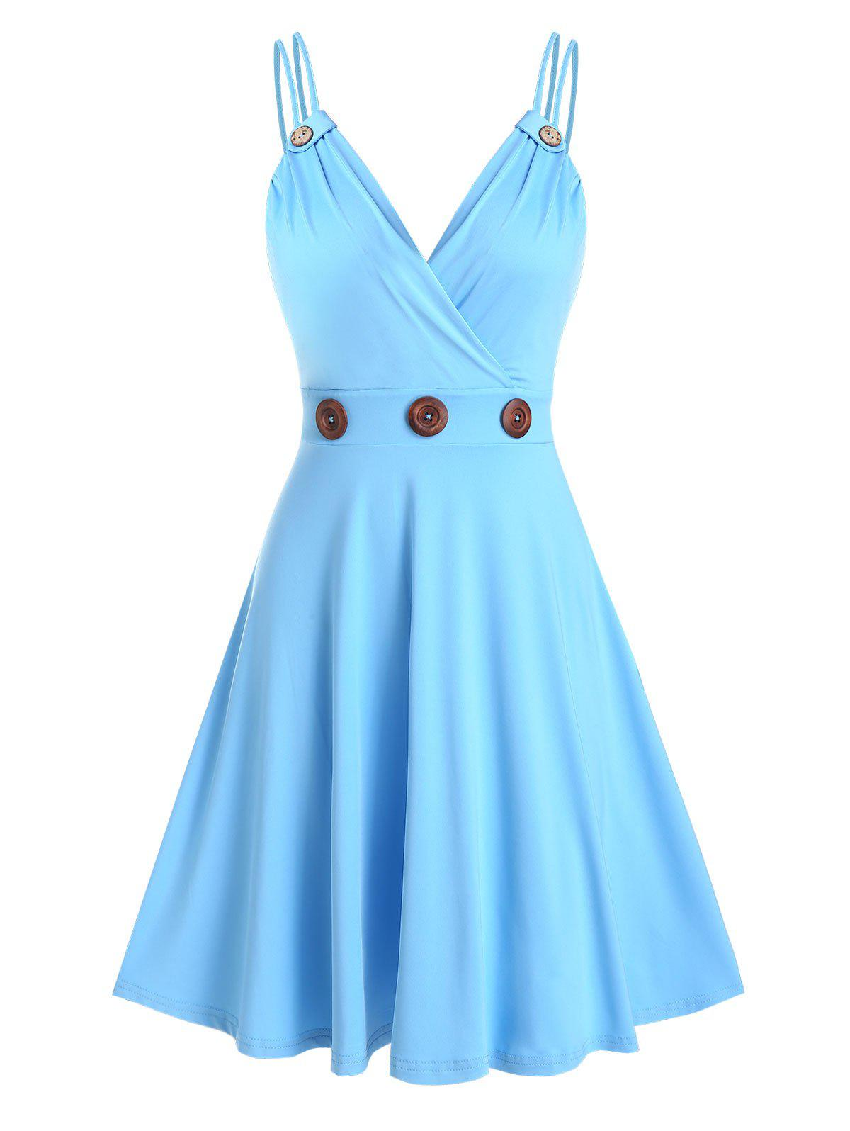 Strappy Mock Button Flare Dress - LIGHT BLUE S