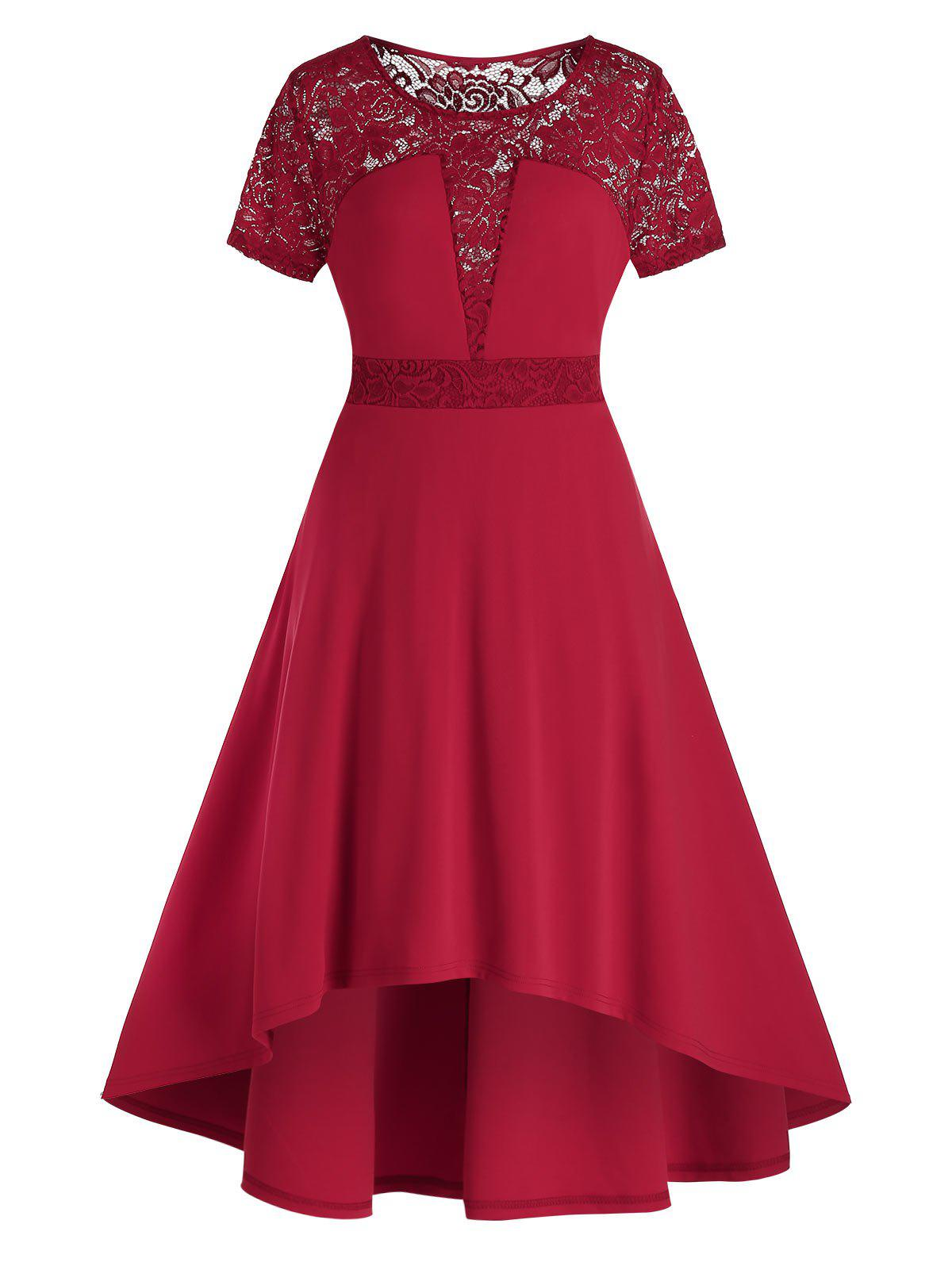 Plus Size Lace Panel Dip Hem Midi High Rise Dress - RED WINE 1X
