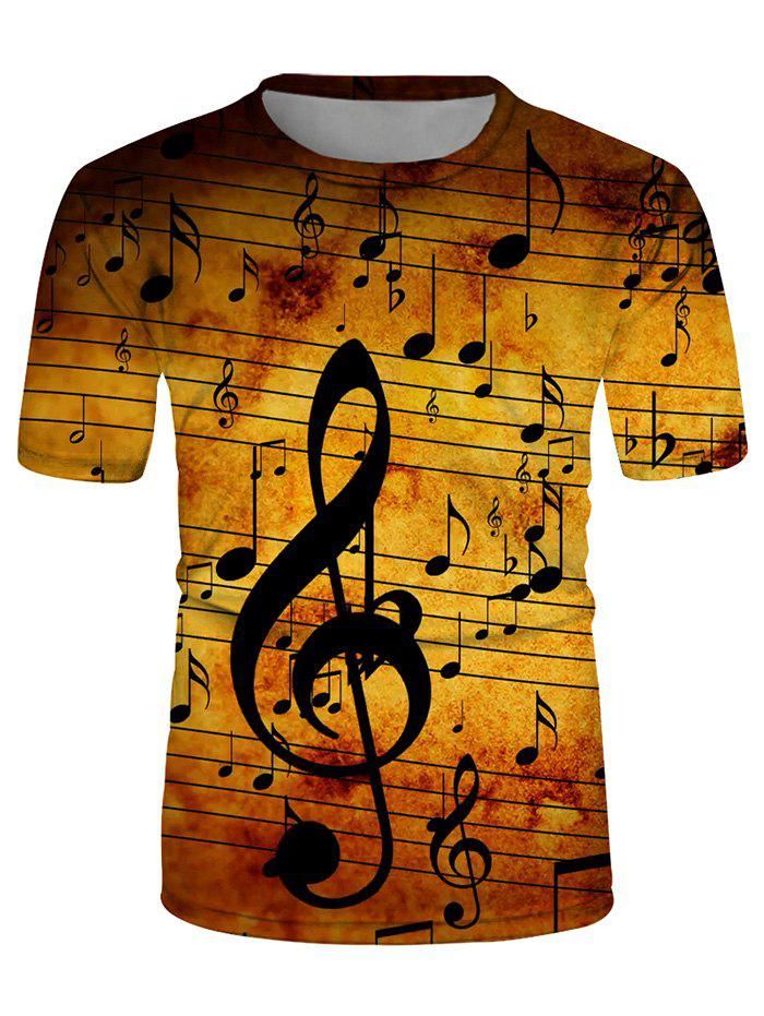 3D Musical Note Printed Fashion Tee - multicolor M