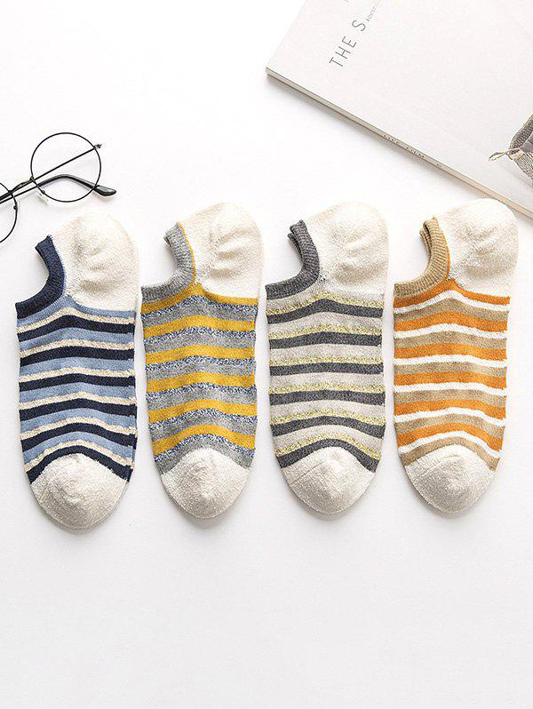 4 Pairs Striped Pattern Invisible Socks Set - multicolor A