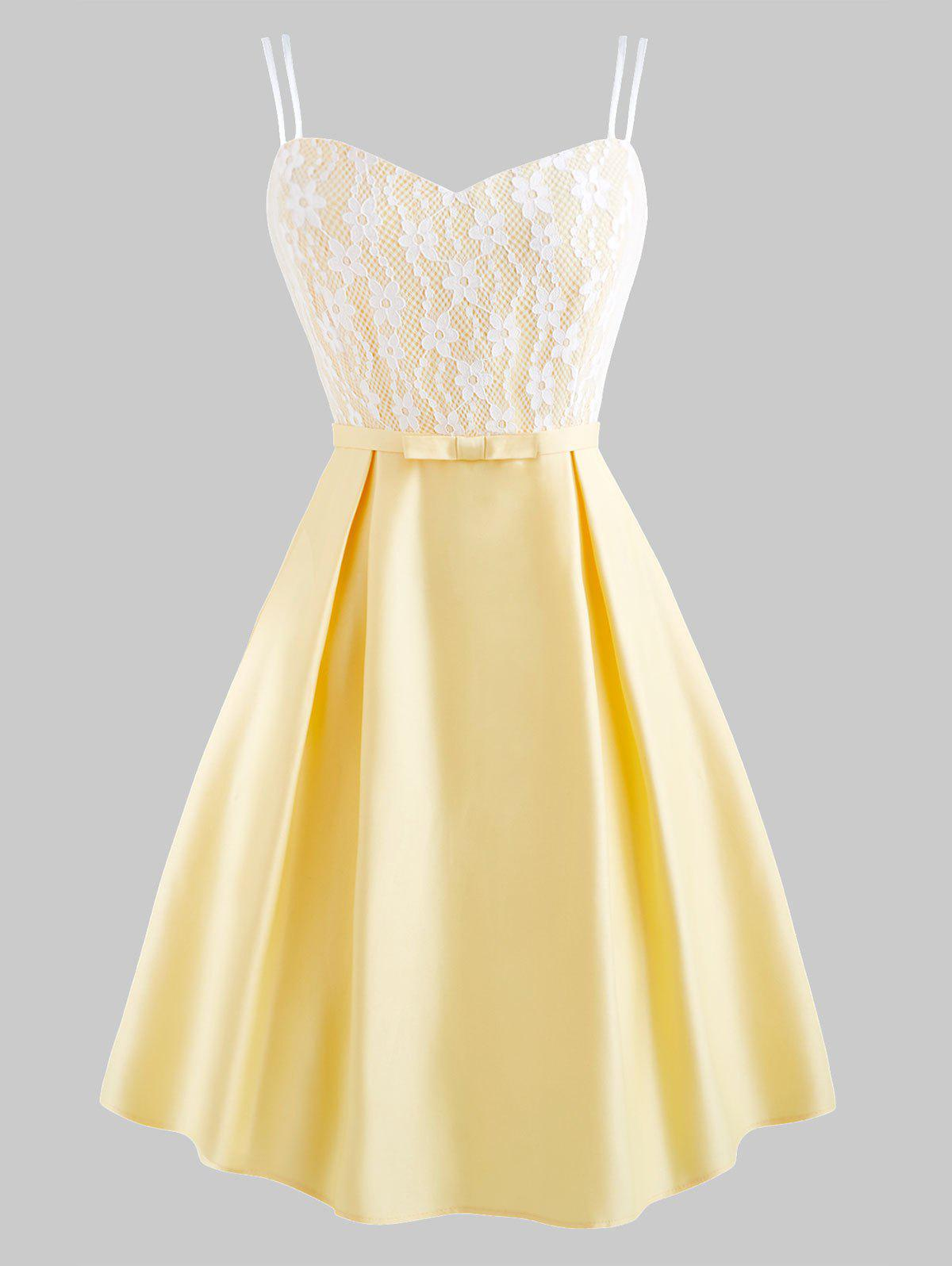 Flower Lace Belted Dual Straps Party Dress - CORN YELLOW 2XL