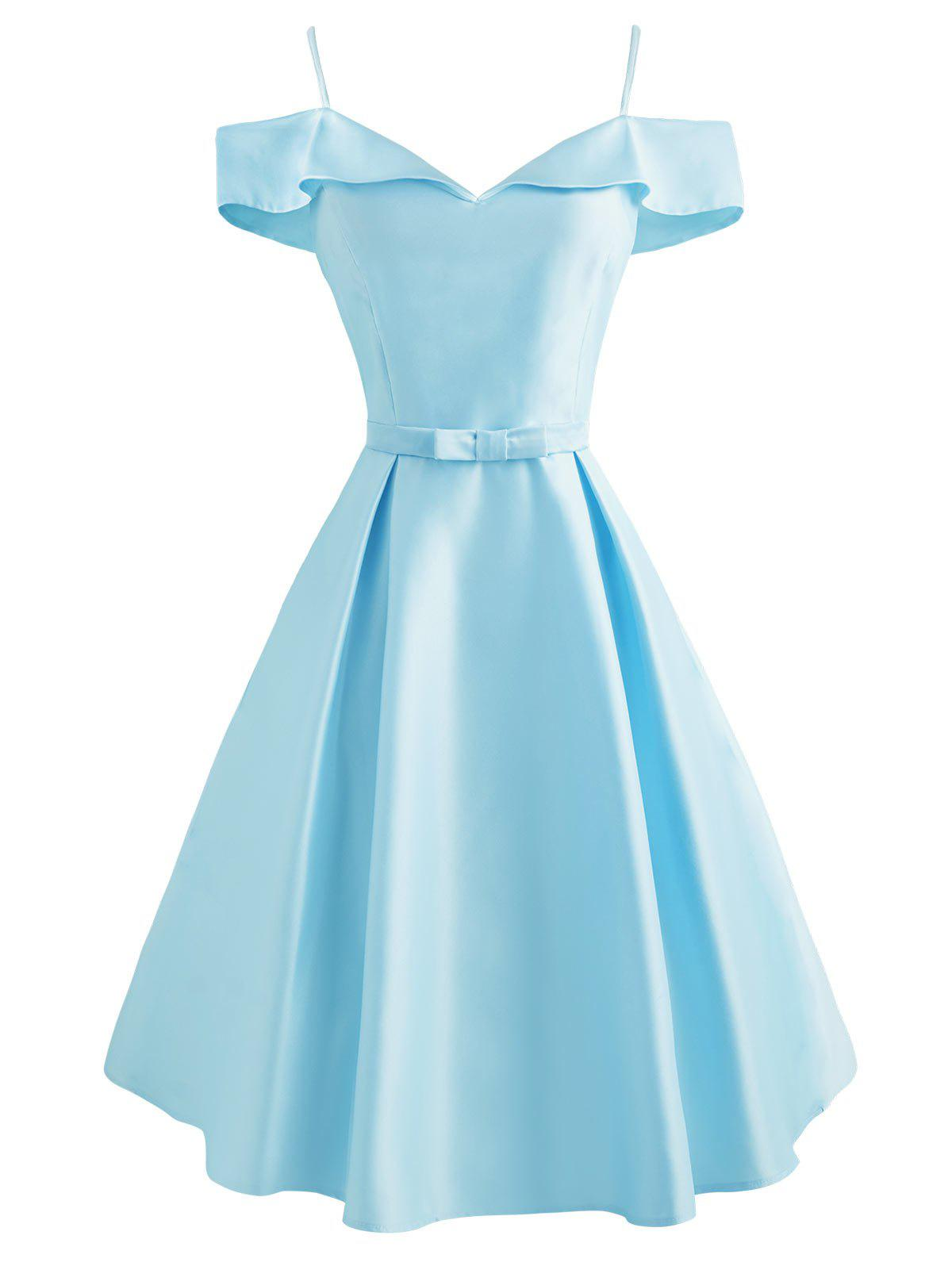 Cami Foldover Belted Cold Shoulder Dress - LIGHT BLUE M