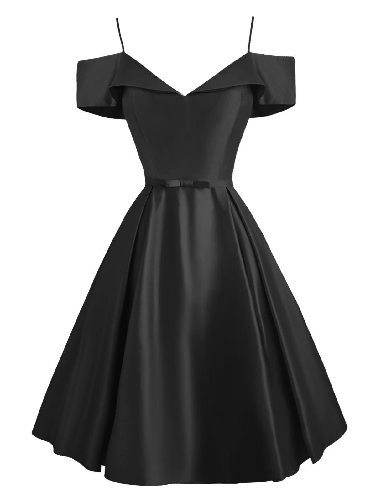 Cami Foldover Belted Cold Shoulder Dress - BLACK M
