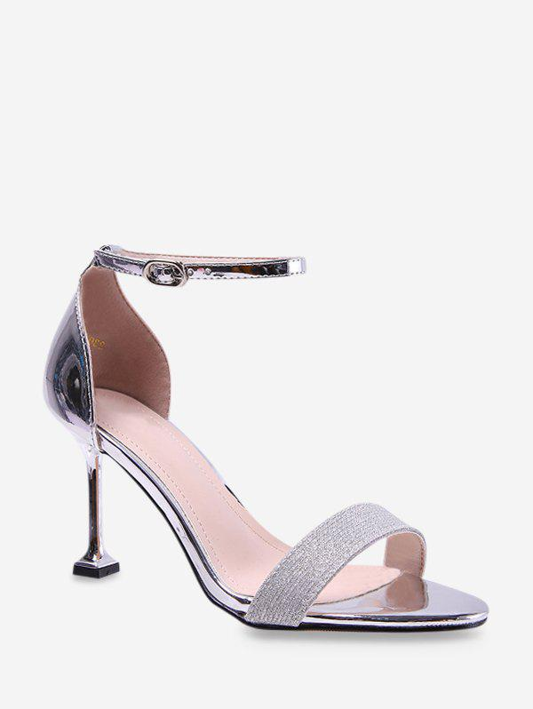 Metallic Leather High Heel Ankle Strap Sandals - SILVER EU 39
